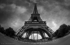 In the Clouds (J P | Photography) Tags: wallpaper sky blackandwhite bw fish paris france tower architecture clouds french photography mac nikon noiretblanc eiffeltower eiffel ps nb fisheye ciel jp toureiffel 28 capitale nikkor nuage f28 franais parisian parisienne parisien photomatix cs6 nikkor105mm28 oeildepoisson jpphotography