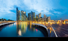 Singapore (Beboy_photographies) Tags: blue skyline marina bay singapore hour singapour manual blending