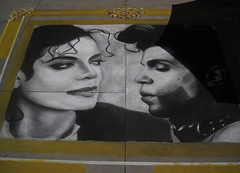 The King of Pop and the Prince of Rock at the 2016 Chalk Art Festival (Robb Wilson) Tags: 2016pasadenachalkartfestival chalkart pasadena michaeljackson prince popstars rockstars freephotos