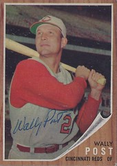 1962 Topps - Wally Post #148 (Outfielder) (b. 9 Jul 1929 - d. 6 Jan 1982 at age 52) - Autographed Baseball Card (Cincinnati Reds) (Green Tint Variety) (WhiteRockPier) Tags: 1962 topps 1962topps baseball cards baseballcard vintage auto autograph graf graph graphed sign signed signature wallypost cincinnatireds greentint