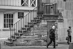 Walking Home (Jae at Wits End) Tags: people staircase architecture monochrome stairs bw black blackwhite blackandwhite flight gray grey steps treads white