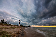 The Sky is Falling (guizhou2012) Tags: michigan lighthouse landscrape lakeside lakeofmichigan clouds darksky sunset nature superwiderangle bigsablelighthouse wave watchtower beach
