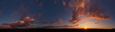 Majestic Sunset (hessamt) Tags: aerial djiphantom4 drone quadcopter sunset panorama pano oronomaine nature landscape sun orange magenta pink curve cloud cumulus red yellow saturation blue sky