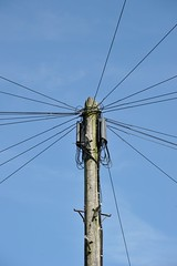 Wired for sound (Chrissie L - doesn't do Photoshop) Tags: kent gb nikond700 capturenx2 telephone pole wires