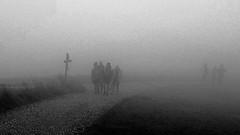 sudden change (Fotoristin - blick.kontakt) Tags: blackandwhite hiking fog rain treacherousweather people silouettes handymade suddenchange fotoristin
