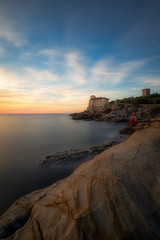 The Lady of the Castle (Silvio1987) Tags: canon6d canon1635 manfrotto castel boccale livorno calafuria italy sunset seaside rocks blue giottos ndfiltrer landscape
