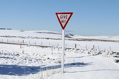 signs metaphors dreams (birdcloud1) Tags: giveway roadsign signs winter snow landscape metaphor clarksjunction otago newzealandlandscape newzealand amandakeoghphotography amandakeogh birdcloud1 canoneos80d eos80d canon50mm18lens 50mm18 intersection trafficsign statsproblemreindexing
