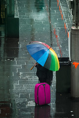 Rainy Day (Mariasme) Tags: waiting colourful rainyday umbrella sydney footpath sidewalk street challengeyouwinner 15challengeswinner