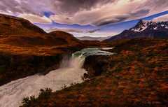 UFO Landing (Ping...) Tags: torresdelpaine saltograndewaterfall patagoniachile patagonia extremeterrain ufo dramaticsky mountain waterfall colorful morning autumn fall lake rivulet stream alp rapids