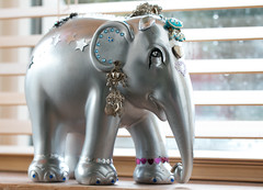 Silver Elephant (Deborah S-C - In The Fairy Garden! - Poorly :-() Tags: silver hearts mums art creative wonderful stars sept16 elephant silverelephantornamentfromthailand sprayed sprayedsilver bejewelled earrings silverjewellery
