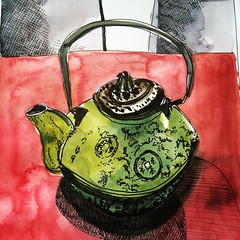 teapot (Evelyn Bach) Tags: sketch sketchbook stilllife tea teapot cafe illustration penandwatercolour visualjournal visualdiary zeichnen skizzen drawing diary drawingyourlife