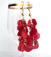 Recycled red earrings (d'ekoprojects) Tags: recycled handmade ecofriendly handmadejewelry upcycled recycledjewelry ecofriendlyjewelry upcycledjewelry