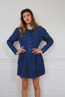 1980s drop waist denim dress