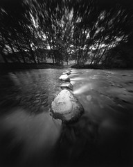 Stepping Stones (goslingstar) Tags: uk bw lakedistrict pinhole cumbria steppingstones largeformat zeroimage 5x4 borrowdale rosthwaite zero45