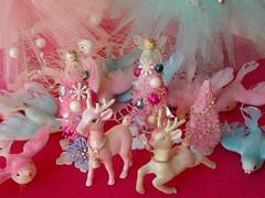 Sweet pink and aqua Christmas decorations (Jennifer Grenko) Tags: christmas pink trees glitter vintage reindeer aqua dove angels bottlebrush shabby
