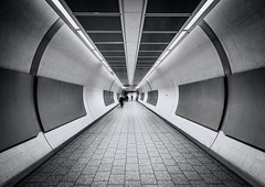 come follow me (vulture labs) Tags: street city uk travel light england urban blackandwhite bw white black building london art monochrome station architecture modern train silver underground subway photography photo nikon europe exposure industrial angle metro interior tube wide tunnel symmetry labs scifi londonunderground nikkor tron topaz lightroom blackandwhitephotography blackandwhitearchitecture d700 1424mm blackandwhitelondon blackandwhiteunderground vulturelabs