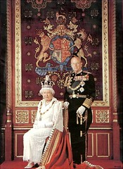 England.- British Royal Family - The Queen & Prince Phillip...March 2002. (mrvisk) Tags: old white black english history hair grey robe jubilee navy duke pride crest monarch sword crown gown naval navel officer tails medals honour royality