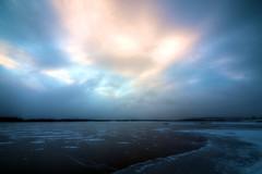 _MAD4371 (le Brooklands) Tags: blue lake ice water yellow jaune sunrise nikon eau labrador lac bleu nl sigma1224mm hdr glace d7000 levedusoleil littlewabushlake
