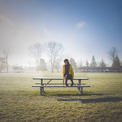 4/365. (Sarah Chaput de Saintonge) Tags: park trees shadow sunlight selfportrait me field grass fog backlight bench myself table picnic alone sad jacket lonely hazy sarahjoannphotography sarahjoann