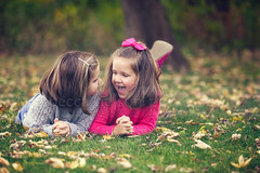 Sharing Secrets (Rebecca812) Tags: family autumn portrait cute fall girl leaves children togetherness kid child sister candid ground communication giggle bond laughter conversation talking secrets prone canon5dmarkii rebecca812