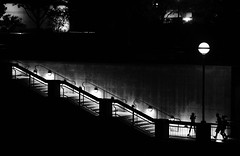 Night Play (animefx) Tags: park camera vacation people blackandwhite bw kids night stairs digital canon river fun eos blackwhite play indianapolis indiana riverfront dslr dim ff 2011 135mmf2l nightplay 5dmarkii 5d2 5dmkii 5dmk2 5dmark2