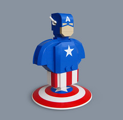 Lego Captain America Bust (Fredoichi) Tags: sculpture movie lego cartoon superhero marvel captainamerica rendition fredoichi
