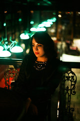 A. (Anya Hansen) Tags: street portrait sky blackandwhite color cute girl beautiful bar canon dark 50mm cigarette gorgeous smoke smoking sigarette