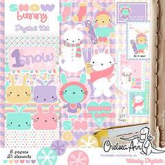 Snow Bunny Digi Kit (ittybittybirdy) Tags: winter snow rabbit bunny snowboarding skiing pastel kawaii digitalscrapbooking gifttags chelseaann