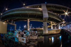 Tempozan Junction Minato Dori (Sandro Bisaro) Tags: urban japan night canon dark cityscape loop junction 7d osaka hanshin tempozan expressways