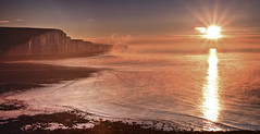 Seven Sisters Sunrise with Sea Haar (JamboEastbourne) Tags: park sea cliff mist haven sisters sunrise downs sussex coast chalk south east national seven cuckmere haar englang