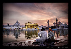 Golden Sunrise (Greg - AdventuresofaGoodMan.com) Tags: friends india building architecture sunrise gold religion landmark sikh punjab pinksky amritsar sheik goldentemple punjabi seik amritsarovar poolofnectar