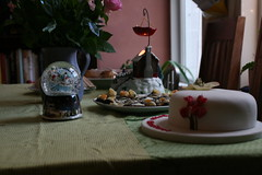 1 - Dec - 2012 - Christmas Tea (Pittypomm) Tags: christmas roses party snow cake globe candle tea yorkshire pudding biscuits sandwiches glittery