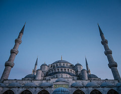 Blue Mosque at dusk (miemo) Tags: travel autumn fall architecture night evening asia europe exterior dusk religion towers courtyard istanbul mosque dome bluemosque minarets sultanahmetcamii sultanahmedmosque