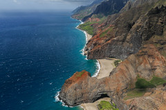 N Pali Coast (Tn) Tags: ocean sea seascape clouds landscape island hawaii unitedstates pacific helicopter pacificocean kauai aerialphotography waterscape napalicoast kalalaubeach jackharter honopuarch doorlesshelicopter landingcaves tonyvanlecom