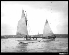 Yachts sailing on Sydney Harbour (Australian National Maritime Museum on The Commons) Tags: sailing sydney sailors sydneyharbour sailingboat sailingvessel harbourscenes williamhall williamhallcollection