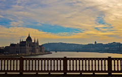 budapest parliament (marios_ch) Tags: bridge blue sky sun black green castle cars nature water colors yellow clouds 35mm reflections river boats grey mirror nikon day afternoon cloudy budapest parliament 5100 nikkor danube channel blinking 18g d5100