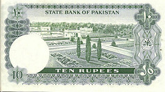 Pakistan 10 Rupees Vintage Note. Signatures of Ghulam Ishaq Khan. Reverse (shahone) Tags: pakistan currency jinnah rupees rupee currencynote 10rupees ghulamishaqkhan pakistancurrencynotes
