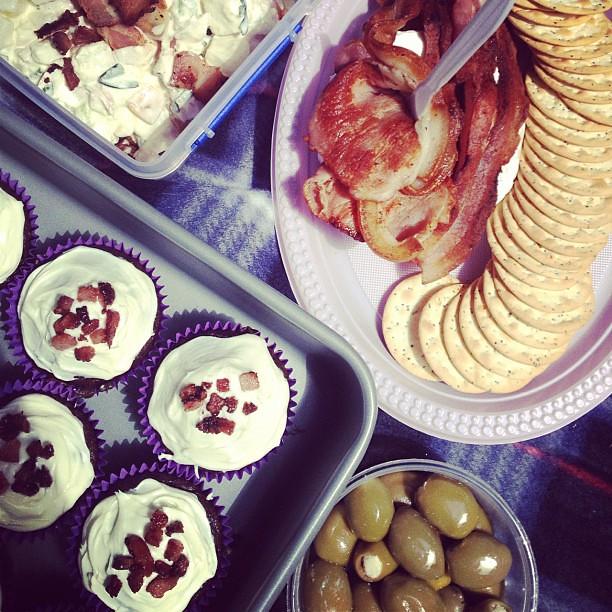 Bacon Brie cake, bacon potato salad and bacon chocolate cupcake