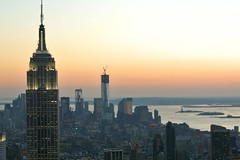 Icons (troutwerks) Tags: sunset newyork skyline icons empirestatebuilding wtc statueofliberty topoftherock