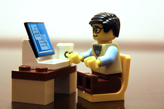 Hard at Work (Scott Palfrey) Tags: nerd canon computer children toys geek lego programmer minifigure 600d