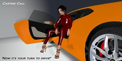 Tosses you the keys (alexandriabrangwin) Tags: alexandriabrangwin secondlife 3d cgi computer graphics virtual world art project major production lamborghini huracan lp5404 open car door orange italian shiny red leather catsuit sitting side pose casual casting call high stiletto heel shoe v10