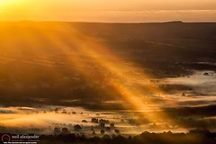 View over the Hope Valley from Mam Tor at dawn (NeilAlexanderD) Tags: england mist sunrise dawn europe unitedkingdom derbyshire peakdistrict noone peaceful nobody nopeople calm valley gb inversion nationalparks highpeak mamtor castleton nativetrees feelingsgood naturalisedtrees