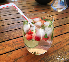 Summer I love you (HeyCo Photography) Tags: home made mojito drink glass hot summer fresh alcohol beverage ice cubes lime slices strawberries rhum sugar straw wooden table beautiful colors delicious taste shot with iphone