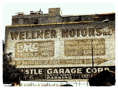 Wellner Motors Inc (Professor Bop) Tags: professorbop drjazz building structure brick sign paintedsign canonpowershots3is wellnermotorsinc nyc newyorkcity mosca