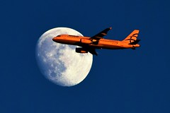 Exploring The Moon ... (Kotsikonas Elias) Tags: moon luna aviation airplane sky outdoor athens greece airbus airbusa320 aegean kotsikonas kotsikonaselias