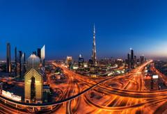 Dubai - Skyline Panorama (claudecastor) Tags: rot dubai skyline panorama blauestunde nachtaufnahme nightshot bluehour city stadt cityscape stadtlandschaft verkehr traffic burjkhalifa burjdubai burj skyscraper wolkenkratzer autobahn sheykzayedroad highway uae vae vereintearabischeemirate reise unitedarabemirates travel
