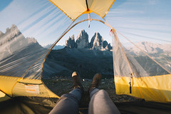 Camping goals in Italy. (Bokehm0n) Tags: landscape nature vsco explore flickr earth travel folk 500px tent outdoors people sky water dolomites italy vscofilm dawn mountain recreation adventure summer leisure wind
