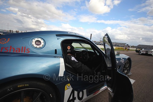 Rob Gaffney on the grid in the Ginetta GT4 Supercup at Rockingham, August 2016
