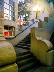 Navarro St. Bridge stairs leading down to the #SanAntonioRiverwalk (photo.po) Tags: canong10 canongseries caonicompactcameras canon architecture adobe beautiful bridge street streetlamp stairway sanantoniotx riverwalk satx tx