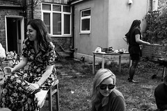 Summer BBQ party (Gary Kinsman) Tags: 2016 london fujix100t fujifilmx100t nw5 kentishtown party bbq garden houseparty summer candid unposed shades sunglasses grin smile bw blackwhite